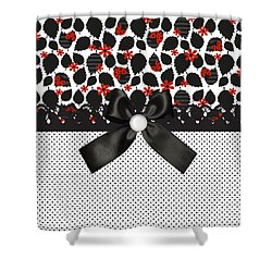 Ladybugs Leaves  Shower Curtain by Debra  Miller