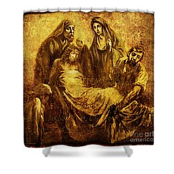 Laid_in_the_tomb Via Dolorosa 14 Shower Curtain by Lianne Schneider