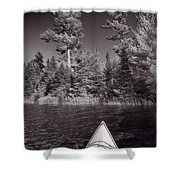 Lake Kayaking Bw Shower Curtain by Steve Gadomski