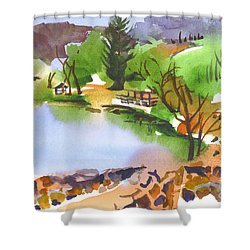 Lake Killarney With Rock Wall Shower Curtain by Kip DeVore