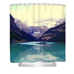 Lake Louise Stillness Shower Curtain by Karen Wiles