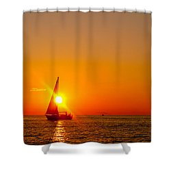 Lake Michigan Sunset Shower Curtain by Bill Gallagher