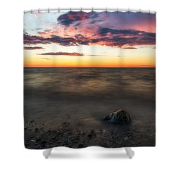 Lake Ontario Sunset Shower Curtain by Mark Papke