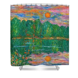 Lake Sunset Shower Curtain by Kendall Kessler