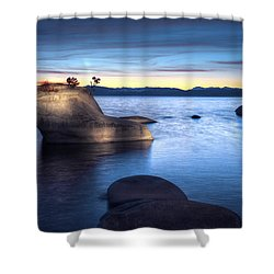 Lake Tahoe Bonsai Rock Shower Curtain by Dianne Phelps