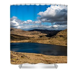 Lake Teyrn Snowdonia Shower Curtain by Adrian Evans