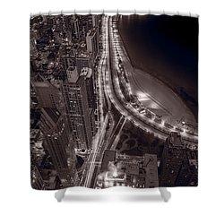 Lakeshore Drive Aloft Bw Warm Shower Curtain by Steve Gadomski