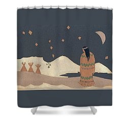 Lakota Woman With Winter Constellations Shower Curtain by Dawn Senior-Trask