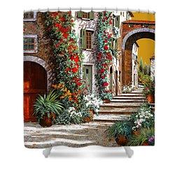 L'altra Porta Rossa Al Tramonto Shower Curtain by Guido Borelli