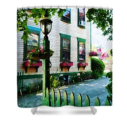 Lamp And Window Boxes Shower Curtain by Susan Savad