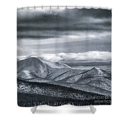 Land Shapes 4 Shower Curtain by Priska Wettstein