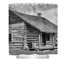 Landow Log Cabin Shower Curtain by Guy Whiteley