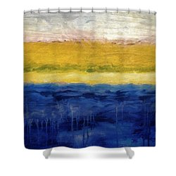 Lapis And Gold Get Married Shower Curtain by Michelle Calkins