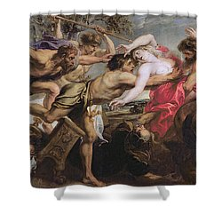 Lapiths And Centaurs Oil On Canvas Shower Curtain by Peter Paul Rubens