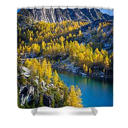 Larches At Perfection Lake Shower Curtain by Inge Johnsson