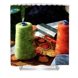 Large Spools Of Thread Shower Curtain by Susan Savad
