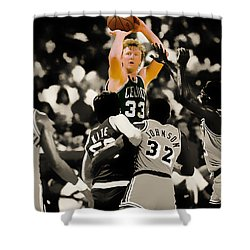 Larry Bird Shower Curtain by Brian Reaves