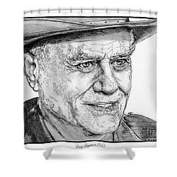 Larry Hagman In 2011 Shower Curtain by J McCombie
