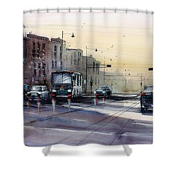 Last Light - College Ave. Shower Curtain by Ryan Radke