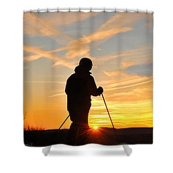 Last Run At End Of Day Shower Curtain by Dan Friend