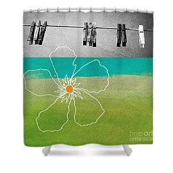 Laundry Day Shower Curtain by Linda Woods