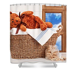 Laundry With Teddy Shower Curtain by Amanda Elwell