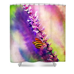 Lavender And Butterlies Shower Curtain by Darren Fisher
