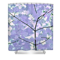 Lavender Blues Leaves Melody Shower Curtain by Jennie Marie Schell