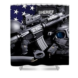 Law Enforcement Tactical Sheriff Shower Curtain by Gary Yost