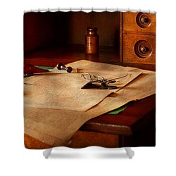 Lawyer - Optician - Reading The Fine Print  Shower Curtain by Mike Savad