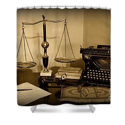 Lawyer - The Lawyer's Desk In Black And White Shower Curtain by Paul Ward