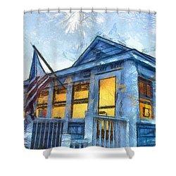 Lazy Daze Beach Cottage Pencil Sketch Shower Curtain by Edward Fielding