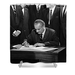 Lbj Signs Civil Rights Bill Shower Curtain by Underwood Archives Warren Leffler