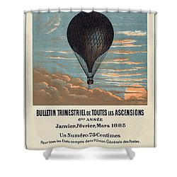Le Ballon Advertising For French Aeronautical Journal Shower Curtain by Georgia Fowler