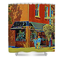 Le Fouvrac Foods Chocolates And Coffee Shop Corner Garnier And Laurier Montreal Street Scene Shower Curtain by Carole Spandau