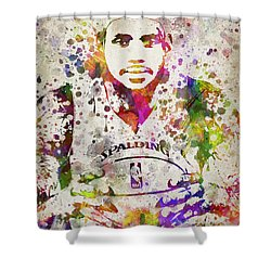 Lebron James In Color Shower Curtain by Aged Pixel