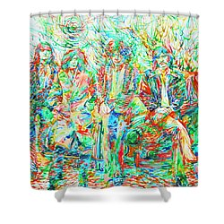 Led Zeppelin - Watercolor Portrait.1 Shower Curtain by Fabrizio Cassetta