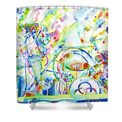 Led Zeppelin Live Concert - Watercolor Painting Shower Curtain by Fabrizio Cassetta