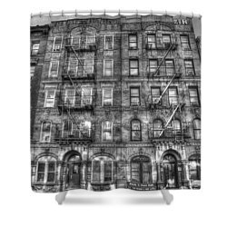 Led Zeppelin Physical Graffiti Building In Black And White Shower Curtain by Randy Aveille