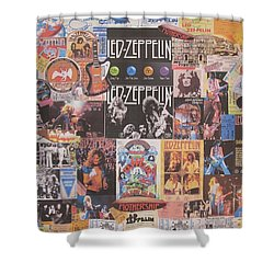 Led Zeppelin Years Collage Shower Curtain by Donna Wilson