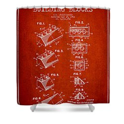 Lego Toy Building Blocks Patent - Red Shower Curtain by Aged Pixel