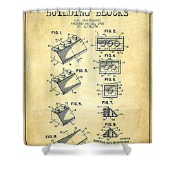 Lego Toy Building Blocks Patent - Vintage Shower Curtain by Aged Pixel