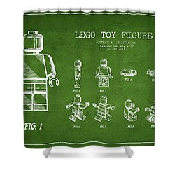 Lego Toy Figure Patent Drawing From 1979 - Green Shower Curtain by Aged Pixel