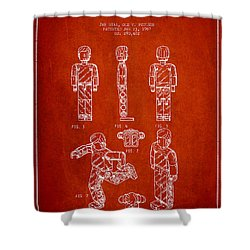 Lego Toy Figure Patent - Red Shower Curtain by Aged Pixel