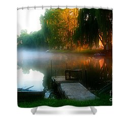 Leidy Lake Campground Shower Curtain by Douglas Stucky