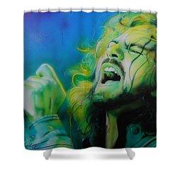 Eddie Vedder - ' Lemon Yellow Sun ' Shower Curtain by Christian Chapman Art