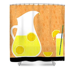 Lemonade And Glass Orange Shower Curtain by Andee Design