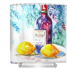 Lemons And Wine And A Little Sunshine Shower Curtain by Carol Wisniewski