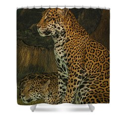 Leo And Friend Shower Curtain by Jack Zulli