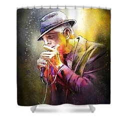 Leonard Cohen 02 Shower Curtain by Miki De Goodaboom